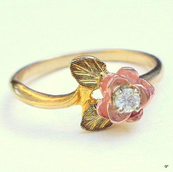 Black Hills Gold Diamond Ring, Solid 10k Gold, Vintage