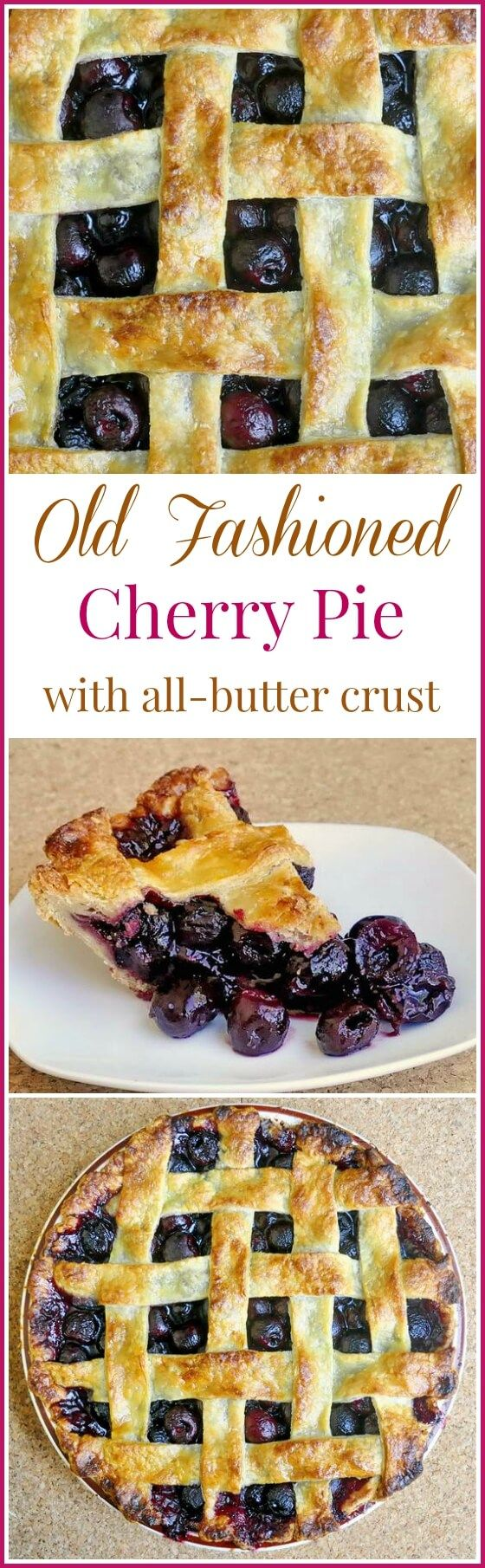 Perfect Cherry Pie - an old fashioned favorite recipe using an all butter crust and plenty of sweet cherries in the filling.