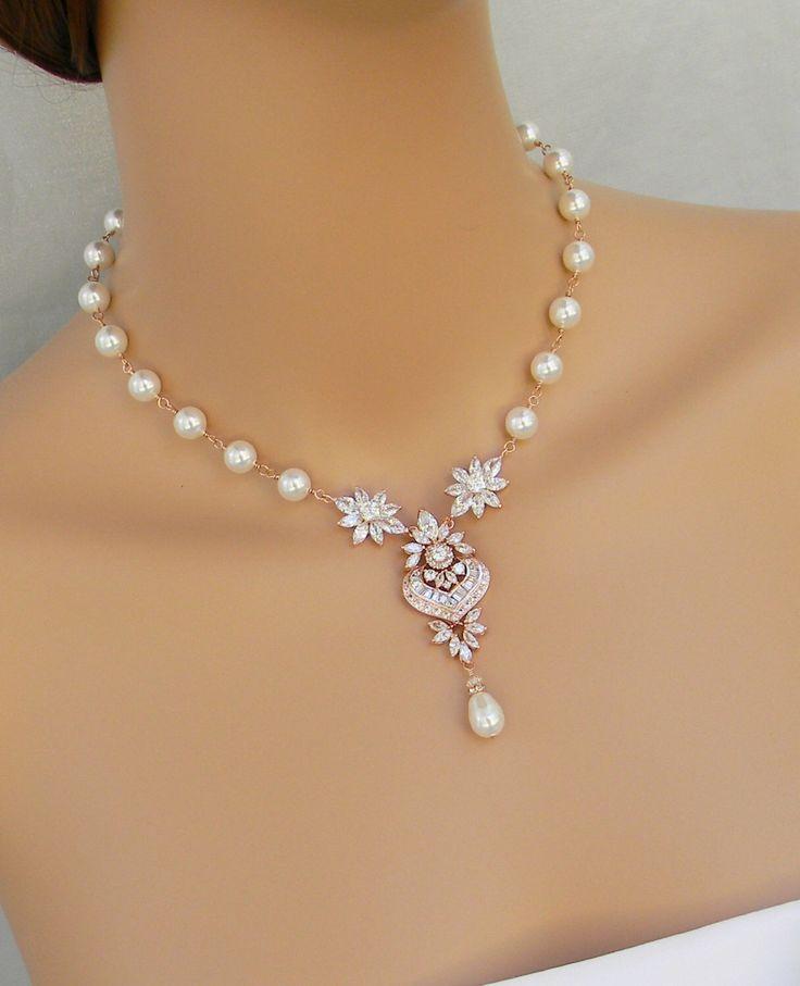 Bridal Necklace,  Rose Gold Pearl Wedding Necklace, Bridal Jewelry SET,  Swarovski Crystal Bridal Necklace, Hannah Necklace by CrystalAvenues on Etsy https://www.etsy.com/listing/209599038/bridal-necklace-rose-gold-pearl-wedding