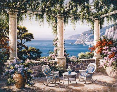 Mediterranean Terrace Mural - Sung Kim  Murals Your Way
