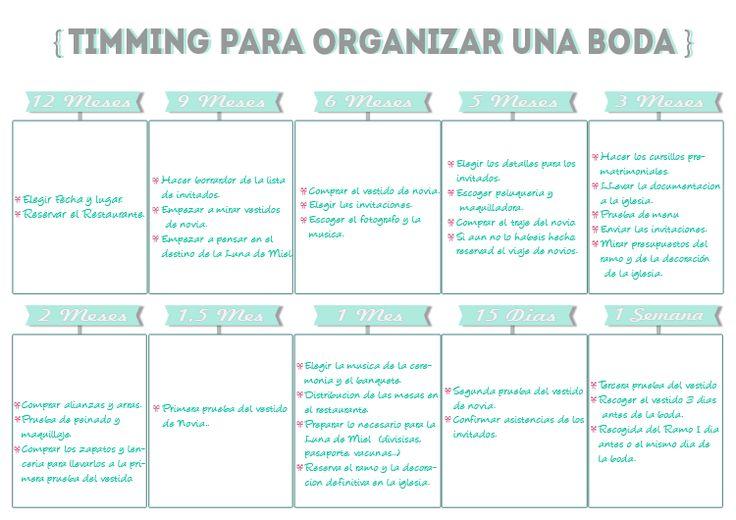 Timming para organizar bodas-Imprimible