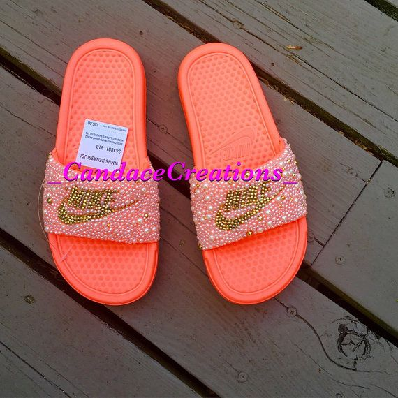 Bedazzled Nike Slides by BlingBasketsandMore on Etsy