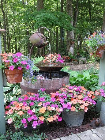 Oh, I want to do this using a little windmill to provide the power for the water pump. I even have two tea kettles! Great Home & Yard Idea's