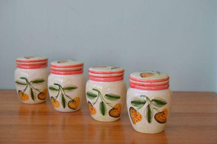 vintage ceramic canister jam jar strawberry kitchen
