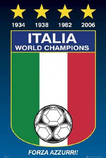 ITALIA WORLD CHAMPIONS World Cup Football Soccer Poster - Forza Azzurri! 1934, 1938, 1982, 2006 ~ available at www.sportsposterwarehouse.com