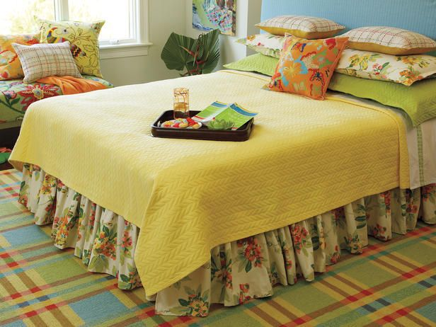 Bright hues and florals create a tropical vibe.Bedrooms Linens, Design Ideas, Bedrooms Design, Dreams House, Living Room, Happy Colors, Bedrooms Ideas, Bright Colors, Floral Pattern
