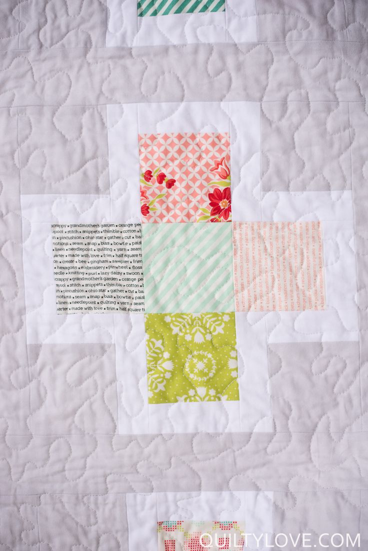 Quilty Love | Handmade fabric Plus Squared Quilt | http://www.quiltylove.com