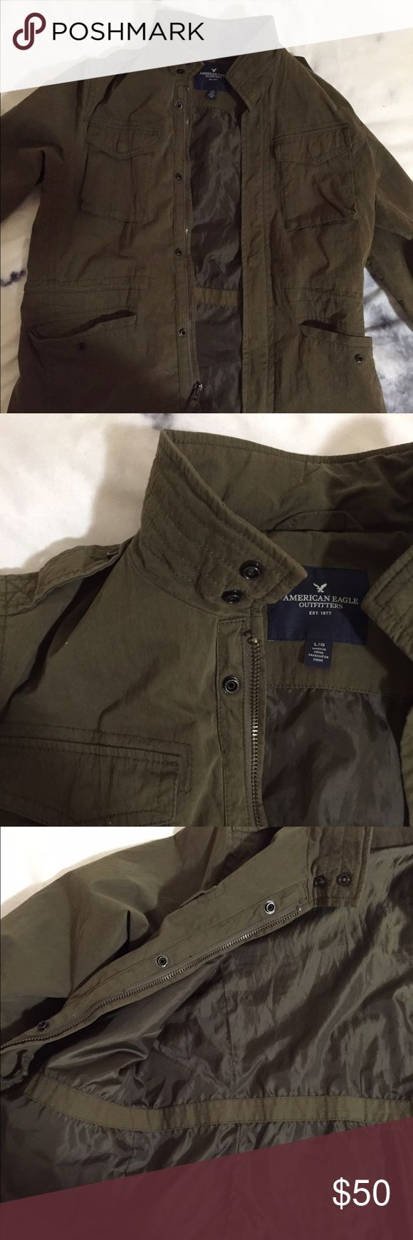 Men's size large American Eagle jacket. Men's size large American Eagle jacket. Olive green color. Worn around five times-great condition! No rips, tears, snags, stains, or wear on this item. Feel free to ask questions, if you have any! :) American Eagle Outfitters Jackets & Coats Bomber & Varsity
