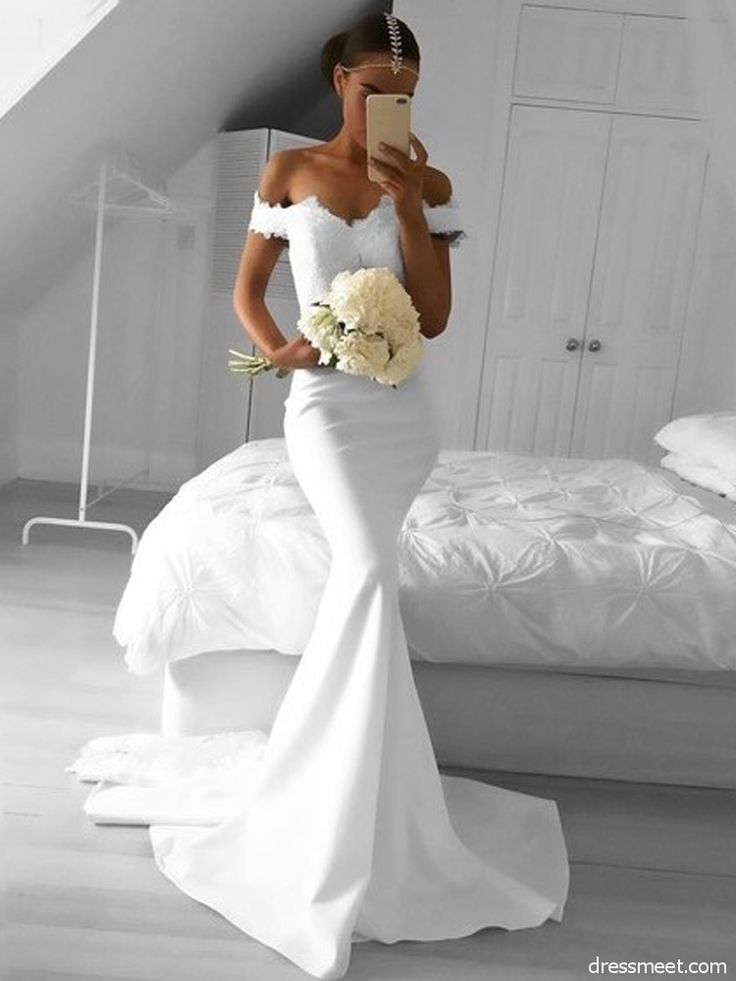 » Elegant Mermaid Off the Shoulder Elastic Satin White Lace Long Prom Dresses, Formal Elegant Evening Dresses