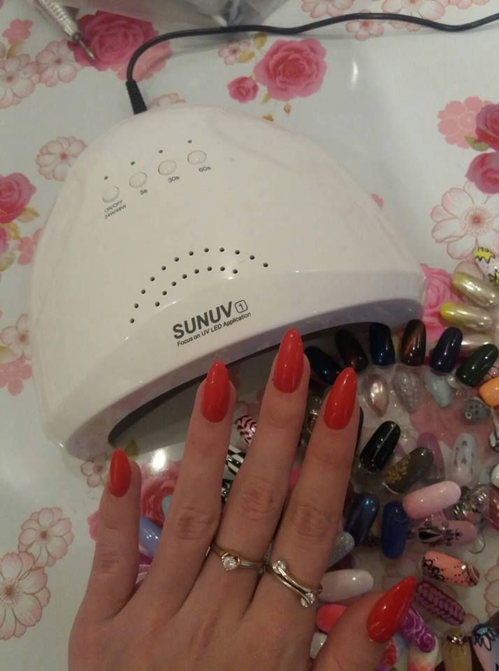 Red nails doing by SUNone nail lamp