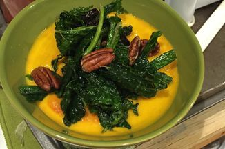 Pumpkin Stew with Wilted Winter Greens and Cranberry Sauce (Vegan, Gluten-Free) Made with Native Forest Coconut Milk!