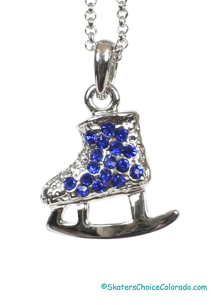 """Fashion Jewelry Blue Rhinestone Ice Skate Charm Pendant at Skater's Choice Blue Rhinestone Ice Skate Pendent Necklace Comes with 9"""" Necklace 7/8"""" Wide x ¾"""" Tall"""