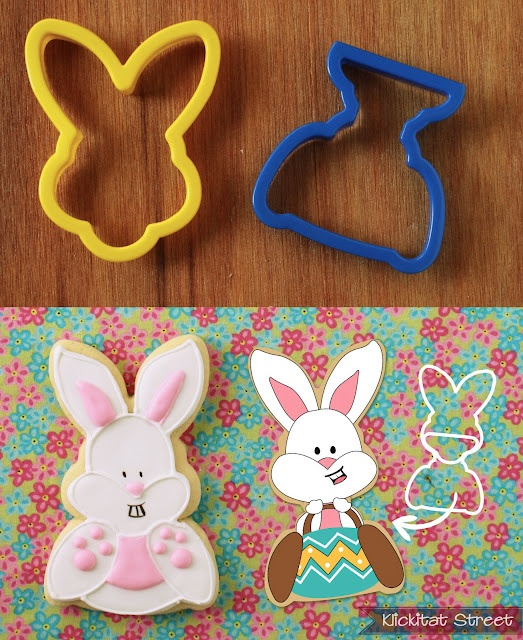 The trophy cutter makes for a great sitting bunny when paired with the bunny face.  You could also use the butterfly cookie cutter from your spring cutters but I found the trophy worked better.  Or you could turn it into a  bunny mobile!  Because everybunny needs a little transportation.