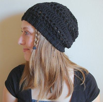 """Slouchy Winter Hat: Free Crochet Pattern used for this hat is a Ravelry download for """"Combination Summer Hat"""" made with cotton yarn-this hat made with wool for winter. (FILED)"""