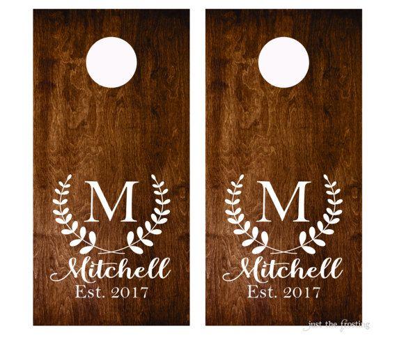 Wedding Sign Decal  Monogram Cornhole Decals Set of Two