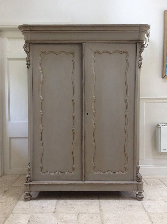 Antique Victorian French Gustavian Grey Painted Armoire Hall
