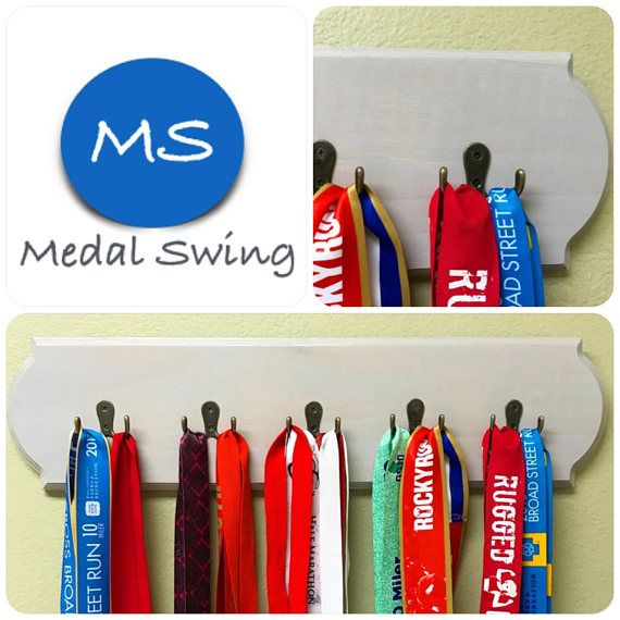 Our product is a hand crafted made-to-order wooden hanging medal display holder with a decorative routered edge and a sun bleached gray stain finish.  The display measures 24 inches across and 6 inches wide.  Each displays comes fastened with 5 two-pronged bronze alloy hooks to securely hold your medals! Two D-Ring hanging hooks are fastened to the back of the holder so you can easily hang up your MedalSwing in your home!  Please check out our other listings for other medal holder designs…