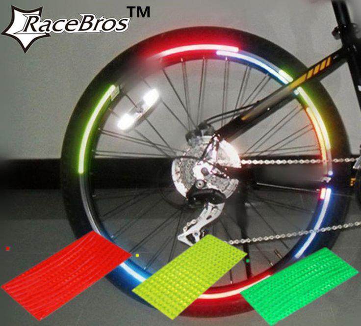 RaceBros vente Chaude 8 pcs ensemble de simple couleur Vélos Autocollant Réfléchissant Réflecteur Vélo Vélo avertissement de Sécurité De Roue Rim Décalque