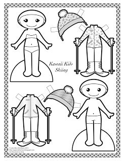 Kawaii Kids 2013: Skiing paper doll.  Black and white paper doll to color.