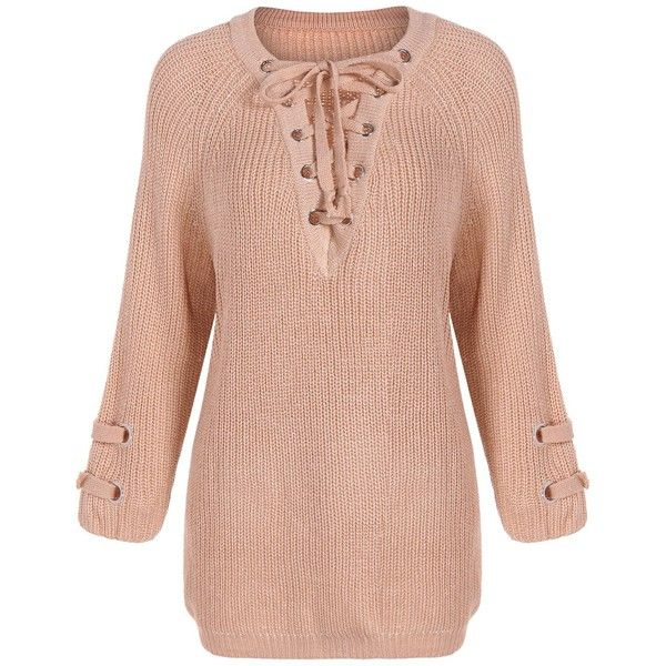 Lace Up Loose Sweater ($20) ❤ liked on Polyvore featuring tops, sweaters, loose fit sweater, cut loose tops, laced up top, lace up sweater and loose fitting sweaters