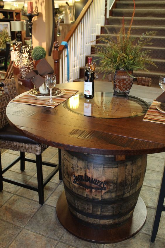 Whisky Wine Barrel Table / http://www.himisspuff.com/rustic-country-wine-barrel-wedding-ideas/7/