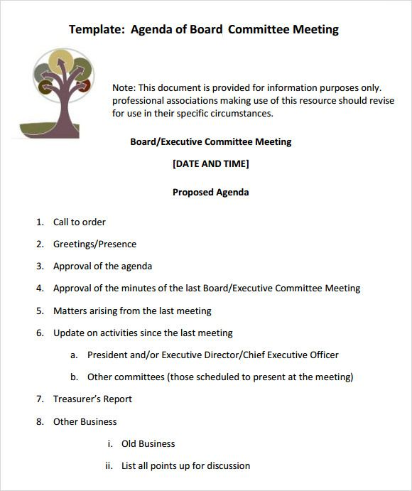 Board Meeting Agenda Templates 10 Printable Word Excel