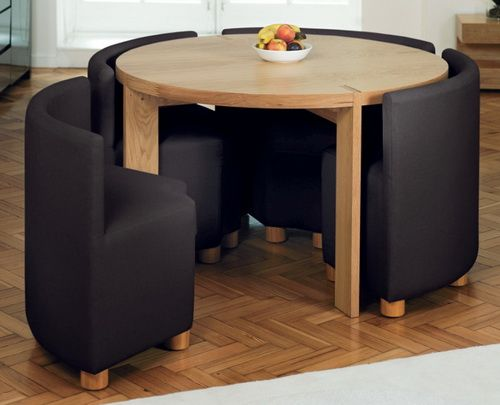 Exceptional Dining Room, : Inspiring Small Dining Room Design Ideas Using Round Cherry Small  Dining Table And Triangle Black Fabric Dining Chair
