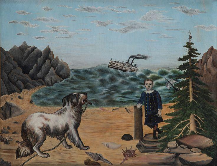 "MEMORIAL PICTURE FOR PARISH C. ALLEN/ Almira Nichols (1845–1930), Dover, Illinois, c. 1896, oil on mattress ticking, 17 x 21"", collection of Kathy Berger and Louis Schorsch."