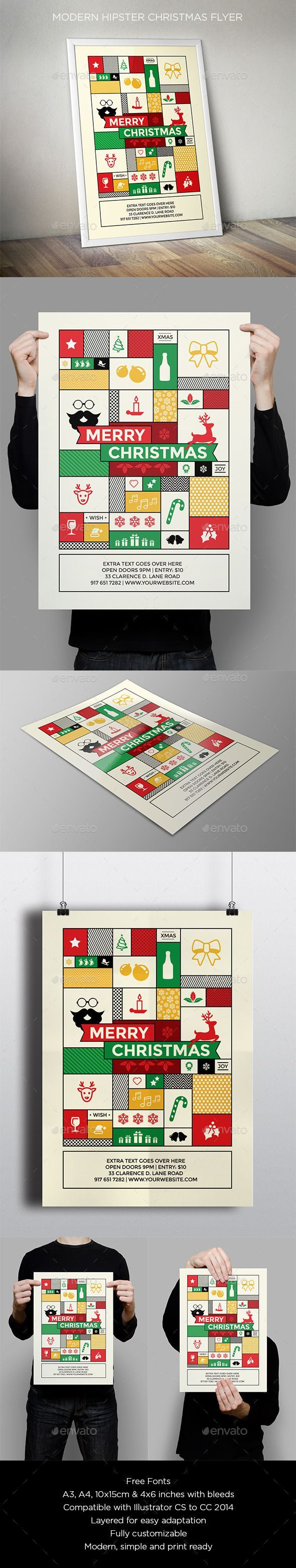 Modern Hipster Christmas Flyer — Vector EPS #christmas card #christmas • Available here → https://graphicriver.net/item/modern-hipster-christmas-flyer/9558528?ref=pxcr