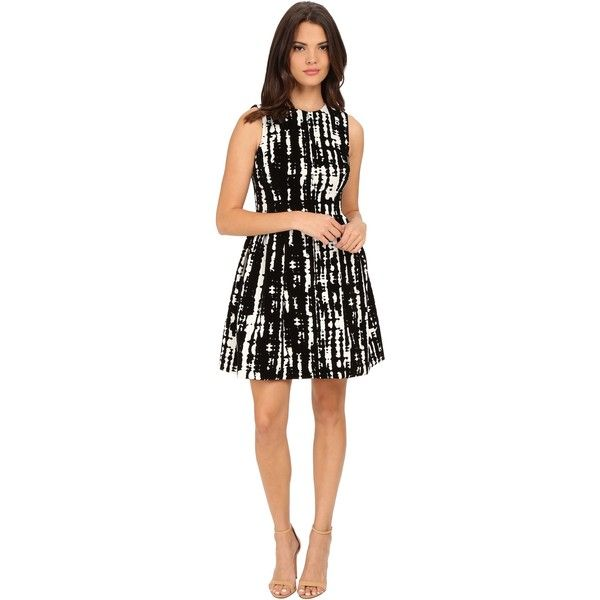 Calvin Klein Flocked Fit Flare Dress (Black/Egg) Women's Dress ($80) ❤ liked on Polyvore featuring dresses, black, calvin klein dresses, straight dress, round neck dress, full skirt and print dress