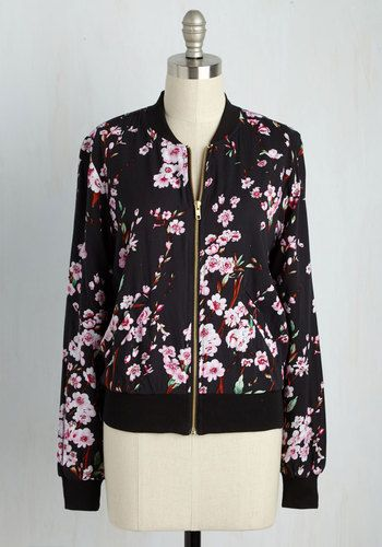 Greatest Blossom Divisor Jacket in Black - Black, Multi, Floral, Casual, Summer, Variation, 1, Short, Exposed zipper, Fall, Cotton, Woven, Better, Crew, Pockets, 90s, Statement, Athletic, Long Sleeve