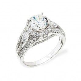 18K White Gold Halo 3-Stone Engagement Ring Wedding Day