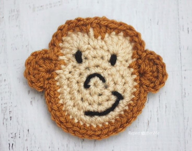 Repeat Crafter Me: M is for Monkey: Crochet Monkey Applique Free Crochet Pattern.