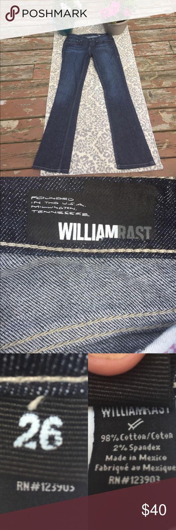 William Rast. Never worn/laundered like new denim Please read the reviews on these they do seem to run large and the recommendations is to order a size down, The owner was a solid 4 at the time she purchased, but due to pregnancy with twins.. she never got to wear them. She feels if you are a size 4 these are a great fit, or if you are a hippier/ booty body type size 2. Mid rise, dark rinse. No flaws, rips, tears or alterations. No stains. Smoke/pet free home. Purchased at Nordstrom's. There…