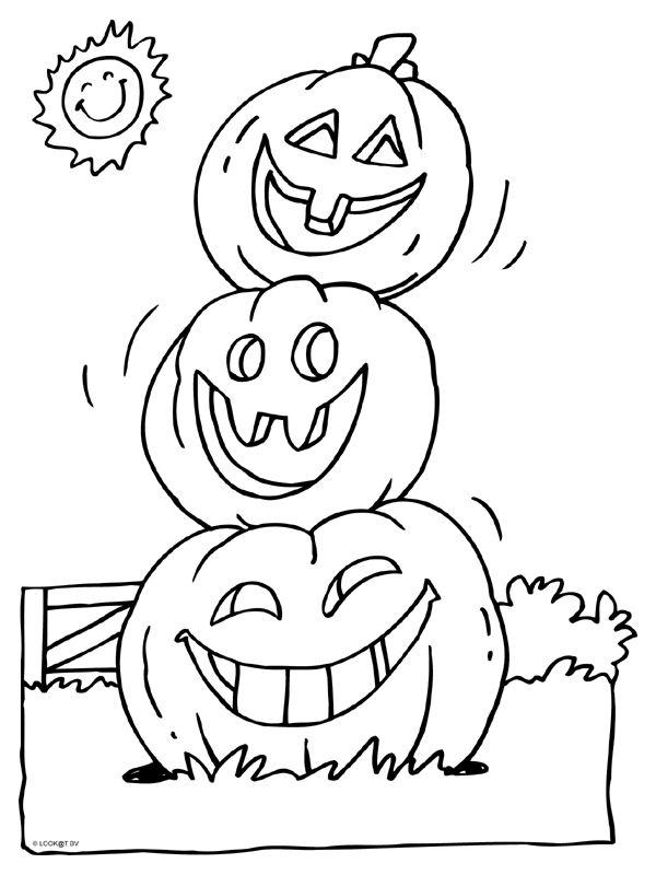 Kleurplaat Halloween pompoenen - Kleurplaten.nl