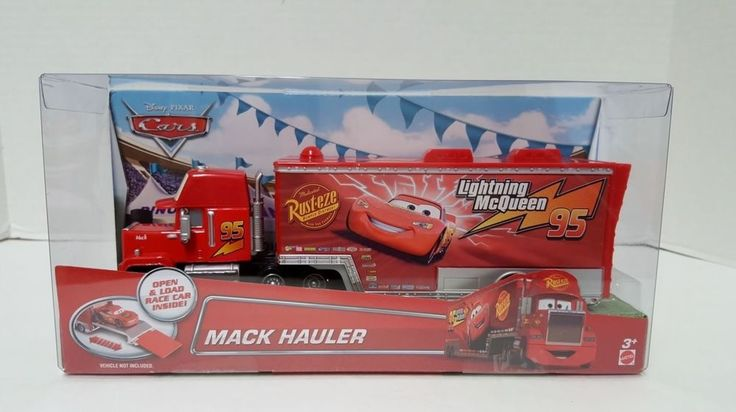 Disney Pixar Cars Rust Eze Lightning Mcqueen #95 Mack Hauler Truck Red Die Cast #Disney
