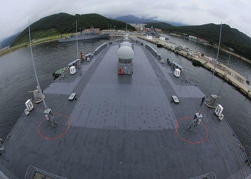 USS Blue Ridge prepares to moor in Chinhae, Republic of Korea.