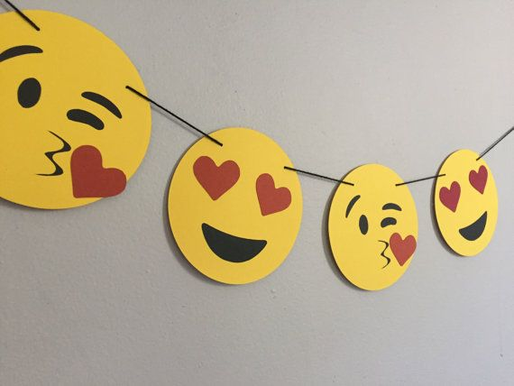 EMOJI LOVE banner // emojis heart eyes dorm decor by oneoliver