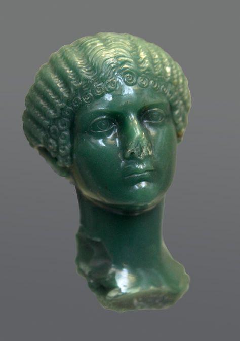 Portrait of Julia Drusilla, Julia Livilla or Agrippina Minor.  Chalcedony  37—39 CE.  Height: 9 cm.