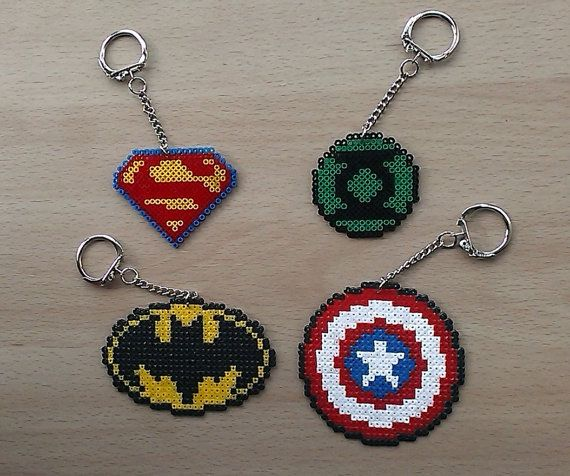 Handmade Comic Book Superhero Symbol Bead by PixelBeadPictures