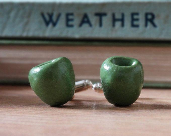 Par les boutons de manchette hangar Vert Olive Fruit - Rhodium plaqué - attribution - végétarien - jardinage - légumes - fruits - Méditerranée - Tapas