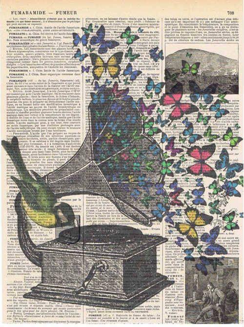 Gramophon aus dem schmetterlinge kommen und sich im raum verteilen jeder hört seine lieďlingsmusik/ oder jeder schmetterling macht eime andere und d…