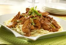 Pace® Picante Sauce provides the flavor punch to this peanut sauce seasoned with soy, ginger and garlic. Stir-fried chicken and spaghetti are tossed with this Szechuan-inspired sauce for an out-of-the-ordinary dinner dish.