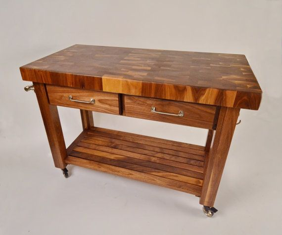 Black Walnut End Grain Butcher block cart by MagnoliaWoodWorks