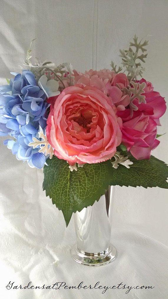 Cabbage Rose Hydrangea And Dusty Miller Silk Reception Centerpiece