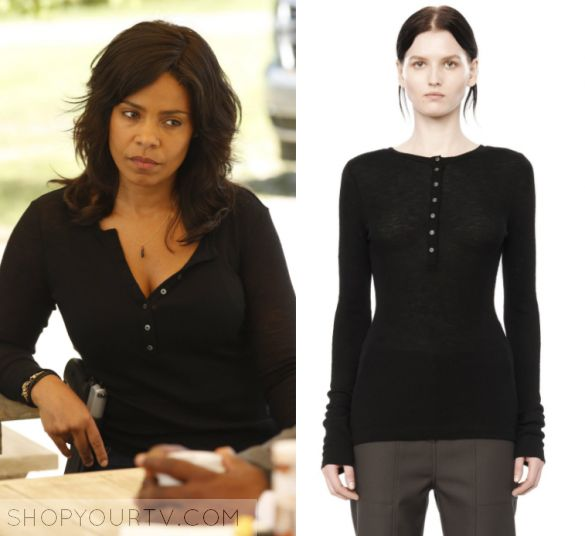 """Shots Fired: Season 1 Episode 9 Ashe's black Button Top   Shop Your TV Ashe Akino (Sanaa Lathan) wears this black long sleeved button front top in this episode of Shots Fired, """"Hour 9: Come to Jesus"""". It is the T by Alexander Wang Henley Jumper."""