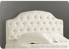 Thrifty decor chick easy instructions on how to make your own headboard, different shapes, easy tufting and nails for decor