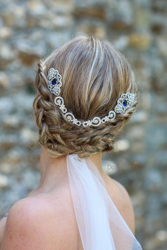 Sapphire Blue Vintage Style Crystal Hair Chain Bridal Head Chain