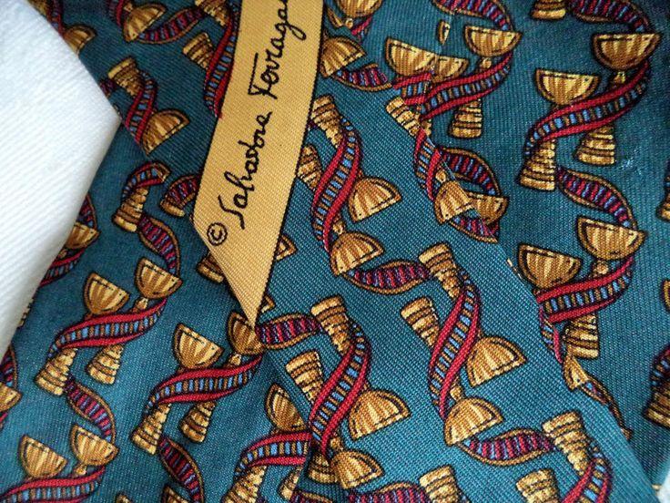 Salvatore Ferragamo Tie Classic Silk Teal blue figural ribbon Men s necktie vtg