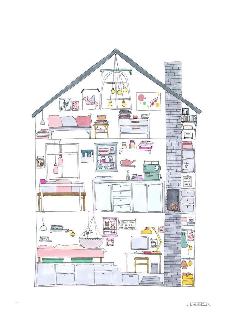 Da jeg var liten drømte jeg om å tegne mitt eget hus, nå har jeg gjort det.Plakat, str A4 og 30 X40 cmPerfekt i rammer fra feks IKEA.Printet på 200 g matt papir